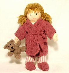 Josie and her bear are ready for bed! this knitting pattern includes stripey pyjamas, cuddly robe, teddy,Josie doll and her best friend Jesse!