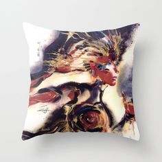 "Goddess Pillow, Goddess Painting, Watercolor Art, ""Warrior Woman"" Original Pagan art painting by Kathy Morton Stanion  EBSQ"