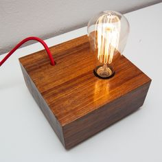 Belmonte Lamp  Basement made in Solid Tali wood  18 x 18 x 8 cm  Shellac and beewax finished