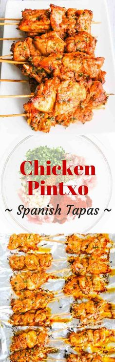 Chicken Pintxo is a type of Spanish tapas - the perfect party food on a skewer. Pintxo are sometimes called pincho or pinchu, and are served on a skewer or toothpick. It's traditionally eaten as bar food in a social setting. Tapas Recipes, Turkey Recipes, Chicken Recipes, Cooking Recipes, Healthy Recipes, Spanish Chicken, Spanish Food, Tapas Dinner, Le Diner