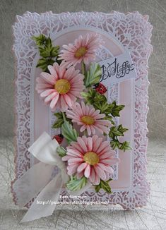 """Hello Everyone, Sharing my DT samples for Tattered Lace """"Petals Of Lace Collection"""" Launching on Create and Craft TV Thursda. Hand Made Greeting Cards, Making Greeting Cards, Happy Birthday Cards Handmade, Vintage Birthday Cards, Create And Craft Tv, Heartfelt Creations Cards, Tattered Lace Cards, Beautiful Handmade Cards, Flower Bouquet Wedding"""