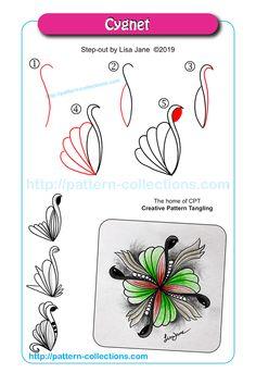 Cygnet by Lisa Jane Zentangle Drawings, Doodles Zentangles, Doodle Drawings, Easy Drawings, Paisley Drawing, Paisley Doodle, Zen Doodle Patterns, Zentangle Patterns, Tangle Doodle