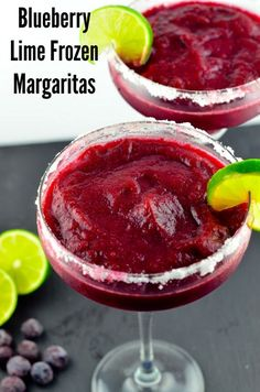 Blueberry Lime Frozen Margaritas - these look fantastic! And even thought its winter in New Zealand I may have to make them and drink them in front of the fire! Blueberry Lime Frozen Margaritas - Can be made with or without rum for all the family to enjoy Frozen Margaritas, Frozen Drinks, Frozen Margarita Recipes, Frozen Drink Recipes, Refreshing Drinks, Summer Drinks, Fun Drinks, Alcoholic Drinks, Mixed Drinks