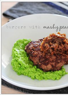Salt-crusted Burgers with Mashy Peas from Stonesoup. Simple patties seasoned with just salt; peas pureed with butter and a bit of lemon juice.
