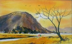 Awesome Water Color Painting Art by Elayaraja ~ Chori-Choriyaan चोरी-चोरियाँ Hobby Photography, Painting Art, Artsy Fartsy, Watercolor Paintings, Watercolour, Landscape, Awesome, Hobbies, Inspiration
