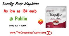 Vanity Fair Napkins As Low As $0.18 @ Publix starting 12/7 or 12/8. Print your coupons now to hold for this deal. Stock up for the holidays!  Click the link below to get all of the details ► http://www.thecouponingcouple.com/vanity-fair-napkins-as-low-as-0-18-publix/ #Coupons #Couponing #CouponCommunity  Visit us at http://www.thecouponingcouple.com for more great posts!