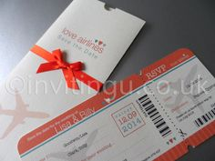save the date boarding pass and wallet