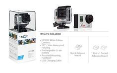 The HERO3: White Edition has built-in Wi-Fi, new UI and is 30% smaller and 25% lighter. The HERO3: White Edition is wearable and gear mountable, waterproof to 197' (60m), and is capable of capturing 1080p 30 fps and 720p 60 fps video plus 5MP photos at a rate of 3 photos per second. THIS CAMERA SOUNDS AMAZING.
