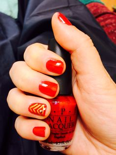 OPI's OHARE AND NAILS LOOK GREAT red nail polish and his rank for the Marine Corps ball. #usmc love #nails