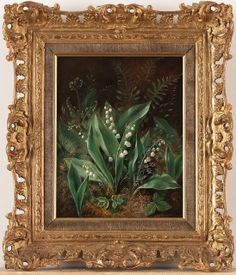 Albert Dürer Lucas 'Lily of the Valley'(one of a pair) 1871 oil on canvas by Plum leaves, via Flickr