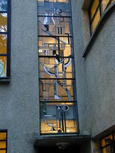 Description: Paris, France: Atelier Barillet, 15 Square de Vergennes: stained glass (art deco, 1932, architect Robert Mallet-Stevens, stained glass windows by Louis Barillet)