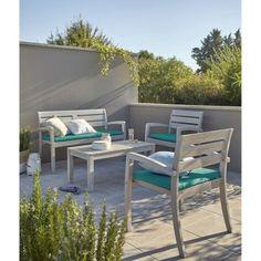 Salon d\'angle d\'extérieur en bois canapé et table basse - Collection ...
