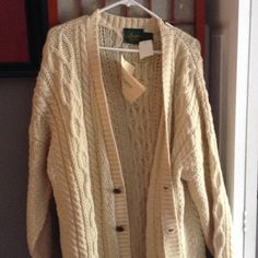 Irish knit sweater 100% pure new wool.. Size XL .. Brand new with tags...brown wooden buttons... Doogan donegal Sweaters Cardigans