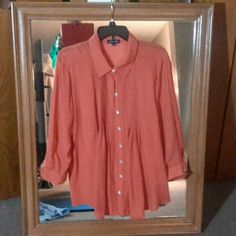 Pin Tucked Dark Coral Tunic Beautiful pin tucking on front , 3/4 sleeve, button up shirt/tunic.  Never worn. Notations Tops Tunics
