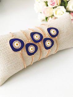 Bangle Bracelets With Charms, Silver Bracelets, Beaded Bracelets, Evil Eye Jewelry, Evil Eye Bracelet, Eye Necklace, Greek Jewelry, White Gold Jewelry, Gold Jewellery