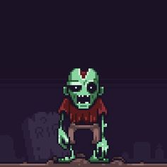 A zombie rises from his grave, by @Mis_BUG #pixelart #animatedgif