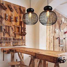 Max 60W Retro Designers Metal Pendant Lights Bedroom / Dining Room / Kitchen / Study Room/Office / Hallway 2018 - kr.719