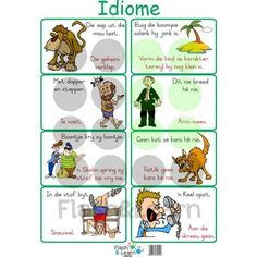 Idioms/Idiome Available in English and Afrikaans Afrikaans Language, Kids Poems, Writing Words, Idioms, English Grammar, Kids Education, Self Help, Teaching Resources, Homeschool