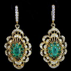 NATURAL COLUMBIAN GREEN EMERALD & WHITE CZ STERLING 925 SILVER YELLOW EARRING