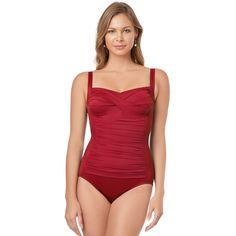 Women's Croft & Barrow® Body Sculptor Control One-Piece Swimsuit, Size: 10, Red