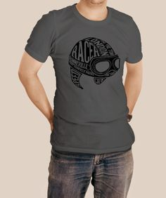 2e06e2b1 Cafe Racer Helmet T-shirt Black imprint on gray shirt.Shirts are made to