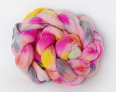 Hand Painted Wool Roving Braid from 222 Handspun