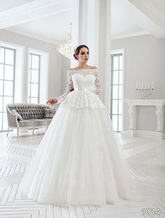 View Dress - Sans Pareil Bridal Collection: 1014 - Lace Peplum top ball gown…