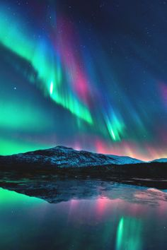 photography beauty lights lake sky upload night space stars dark clouds colors mountains nature reflection Aurora cosmic