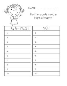 Like this activity to decide if a word needs a capital letter or not