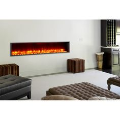 """You'll love the 79"""" Built-in LED Wall Mount Electric Fireplace Insert at AllModern - With Great Deals on modern Renovation products and Free Shipping on most stuff, even the big stuff."""