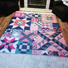 "And starting 2016 with a finish too. I powered through and finally finished my #modamodernbuildingblocks quilt today. So many 6"" blocks! I'll be adding 3"" square borders to make it wide enough for my bed."