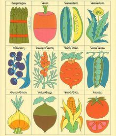 John Alcorn Vegetables — The Peculiar Manicule - Modern Design Art And Illustration, Food Illustrations, Botanical Illustration, Ligne Claire, Hippie Art, No Photoshop, Art Graphique, Grafik Design, Garden Art