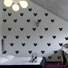 2x1.6 Set of 150 Mickey Mouse Head Inspired Ears Polka Dot Wall Decal Decor Decals Sticker Art Baby Nursery Surface Graphics Bedroom Bed M1603 Maden in USA DecorWallDecals http://www.amazon.com/dp/B017W38XM4/ref=cm_sw_r_pi_dp_tWlrwb019PYZP