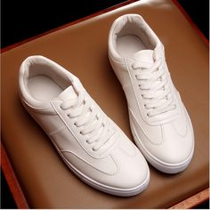 57.00$  Watch here - http://alij2q.worldwells.pw/go.php?t=32698969242 - Top Quality Men White Leather Shoes Fashion Skate Monochrome Flat Skate Summer Hot Lace-up Shoes Breathable Black Casual Shoes 57.00$