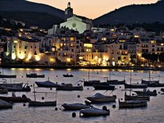 Sunset over the beautiful harbor of Cadaques, Spain on the Costa Brava