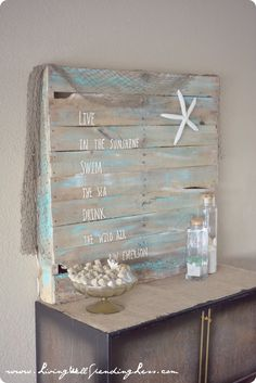 Could take an old pallet and paint whatever you wanted on it at the entrance of the hall. - Beachy Mermaid Party--darling beach and mermaid themed birthday party (on a budget!) So many cute ideas for throwing a high-style party for not a lot of money.