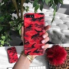 Protective red camo iPhone case with a matte finish and paired with a front color matching bumper, an exclusive signature originated by Velvet Caviar.