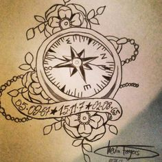 Kind of love the idea of the florals incorporated // Compass Tattoo - Right Path by Artpursuit on deviantART