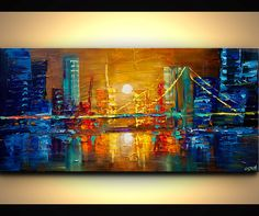 "ORIGINAL City Bridge Painting Modern Acrylic Palette Knife Abstract Painting Downtown Osnat 48"" x 24"" Enormous on Etsy, $511.36 CAD"