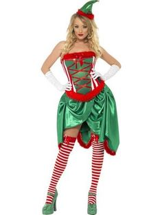 Fever Elf Ladies Burlesque Costume - you'll certainly have them dancing in Santa's Workshop with this fabulous costume from the Fever Christmas Collection