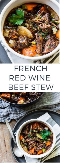 Looking for red wine recipes? Here's a French Red Wine Beef Stew you will surely love. It's a rich, oven-braised stew with tender slow-cooked beef, hearty red wine and Provencal herbs. Serve with crusty bread and salad and dinner is served! Meat Recipes, Slow Cooker Recipes, Healthy Recipes, Crockpot Recipes, Beef Stew Recipes, French Food Recipes, Recipe Stew, Beef Red Wine Recipes, French Beef Stew Recipe