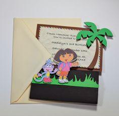 Jingvitations: Print and Cut Silhouette Cameo, Handmade Dora the explorer birthday invitations