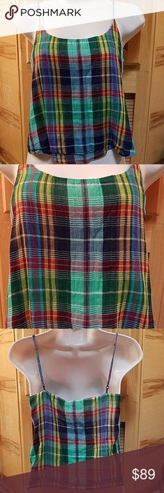 Polo Ralph Lauren cami too, NWT Polo Ralph Lauren cami or tank top, NWT   Size XS  Adjustable straps   Green, blue, purple, yellow, white plaids  Fabric & wasg info in pics  NWT MSRP $98, Polo by Ralph Lauren Tops Camisoles