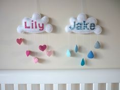 """""""Rainbow Cloud"""" - Personalised applique baby mobile, wall hanging or door sign"""