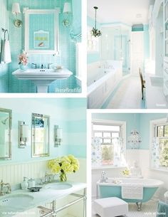 Possible paunt color for Addis room Robin's Egg Blue striped walls. love the lower right room. nix on the buddha, though! Tiffany Blue Bathrooms, Turquoise Bathroom, Tiffany Blue Rooms, Bad Inspiration, Bathroom Inspiration, Blue Striped Walls, Blue Walls, Small Bathroom, Bathroom Ideas