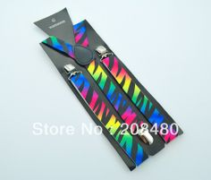 "Free shipping-Unisex Clip-on Braces Elastic Slim Suspender 1inch width ""Rainbow Zebra"" design Y- back Suspenders Wholesale price US $3.59"