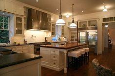Best U Shaped Kitchen Design & Decoration Ideas White Kitchen Cabinets, Kitchen Dining, Cream Cabinets, Stock Cabinets, Kitchen Stools, Kitchen White, Kitchen Redo, Country Kitchen, Country Living