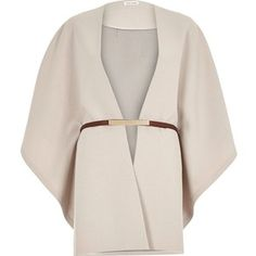River Island Beige belted cape