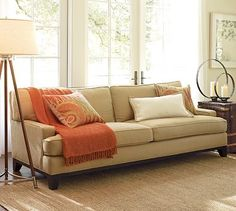 Seabury Sofa #potterybarn Performance Canvas silver taupe? living room