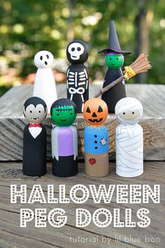How to make Halloween peg dolls. These peg dolls are so easy to make if you paint step-by-step. A DIY peg doll tutorial that anyone can do!